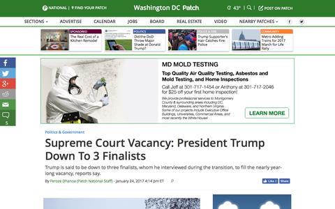 Screenshot of patch.com - Supreme Court Vacancy: President Trump Down To 3 Finalists - Washington DC, DC Patch - captured Jan. 25, 2017