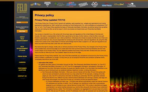 Screenshot of Privacy Page feldentertainment.com - Privacy policy - captured Sept. 19, 2014