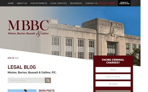 Screenshot of Blog mbfc.com - Legal Blog | Minton, Burton, Bassett & Collins, P.C. - captured April 8, 2017