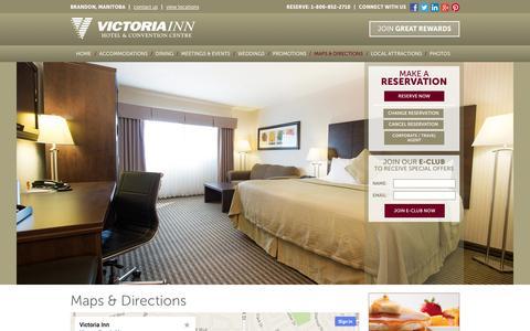 Screenshot of Maps & Directions Page vicinn.com - Hotels in Brandon Manitoba- Victoria Inn Hotels in Brandon Manitoba - captured Oct. 26, 2014