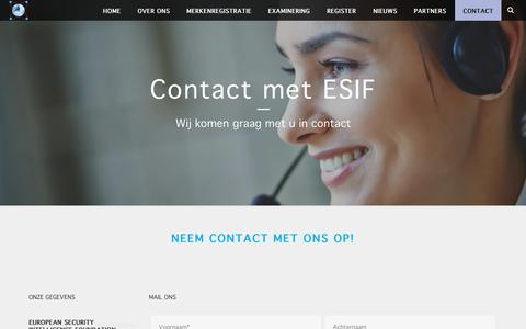 Screenshot of Contact Page esif.nl - Contact met ESIF – ESIF - captured Nov. 9, 2018