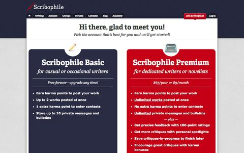 Screenshot of Signup Page scribophile.com - Join Scribophile! - Writing group and online writing workshop for serious writers | Scribophile - captured Sept. 23, 2014