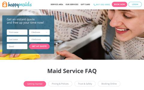 Screenshot of FAQ Page happymaids.com - FAQs About Residential Maid Services and Commercial Cleaning Services - captured July 16, 2018