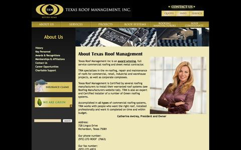 Screenshot of About Page texasroof.com - Texas Roof Management - About - captured Oct. 26, 2014