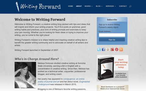 Screenshot of About Page writingforward.com - About | Creative Writing Blog  | Writing Forward - captured Sept. 20, 2018