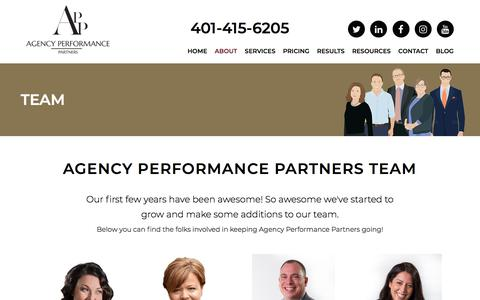 Screenshot of Team Page agencyperformancepartners.com - Our Team | Agency Performance Partners - captured July 29, 2018