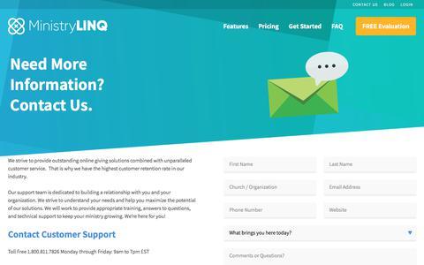 Screenshot of Contact Page ministrylinq.com - Contact Customer Service   MinistryLINQ - captured Nov. 6, 2017