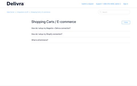 Screenshot of Support Page delivra.com - Shopping Carts / E-commerce – Help Center - captured June 18, 2019