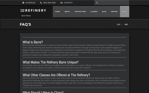 Screenshot of FAQ Page therefineryfitness.com - FAQ's - The Refinery Fitness StudioThe Refinery Fitness Studio - captured March 16, 2016