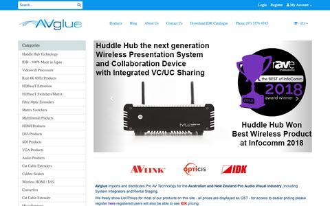 Screenshot of Home Page avglue.com.au - Pro Audio Visual Specialists Australia  | AVGlue.com.au - captured Dec. 9, 2018