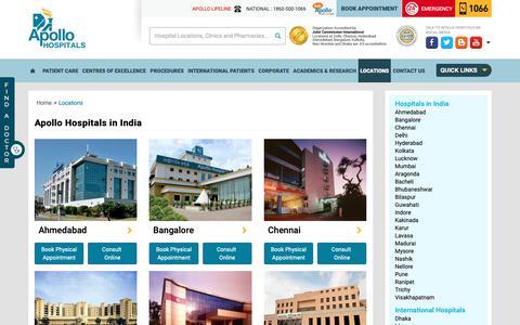 Screenshot of Locations Page apollohospitals.com - Apollo Hospitals Location & Contact Details - captured June 18, 2019