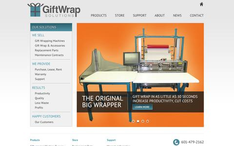 Screenshot of Home Page giftwrapsolutions.com - Gift Wrap Solutions - Automation in Gift Wrapping and Much More - captured Sept. 29, 2014