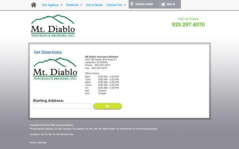 Screenshot of Maps & Directions Page mtdiabloinsurance.com - Directions - captured Oct. 18, 2018
