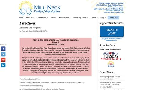 Screenshot of Maps & Directions Page millneck.org - Directions | Mill Neck Family of Organizations - captured Dec. 1, 2016