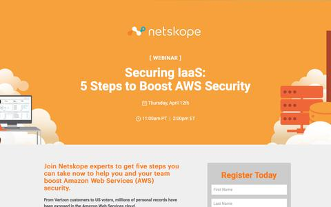 Screenshot of Landing Page netskope.com - Securing IaaS: 5 Steps to Boost AWS Security - captured March 31, 2018