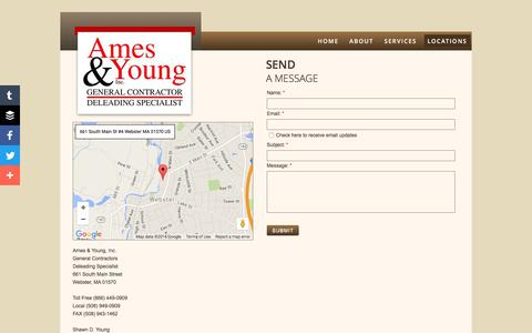 Screenshot of Privacy Page Contact Page Locations Page amesandyoung.com - Locations - captured June 23, 2016
