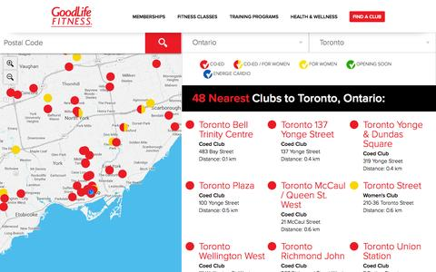 Screenshot of Locations Page goodlifefitness.com - Club Locations - Find a Club | GoodLife Fitness - captured Sept. 19, 2014