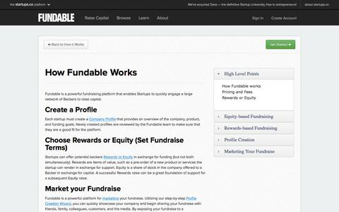 Screenshot of FAQ Page fundable.com - How Fundable works | Fundable - captured Feb. 27, 2016