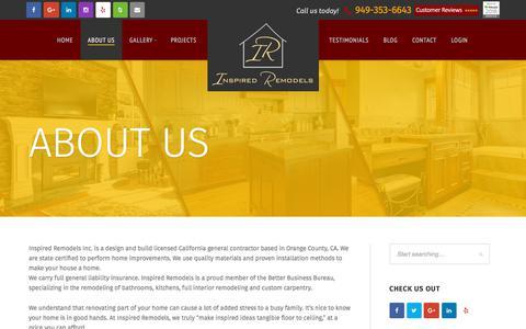 Screenshot of About Page inspiredremodels.com - California Home Improvements Contractors | Custom Design Build Kitchens Bathrooms - captured Sept. 19, 2018