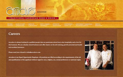 Screenshot of Jobs Page arcodoro.com - Careers - Arcodoro & Arcodoro Pomodoro - captured Oct. 4, 2014