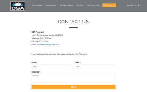 Screenshot of Contact Page lightboxes.com - Contact Us - DSA Phototech, Lightboxes.com - captured Nov. 23, 2016