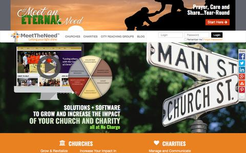 Screenshot of Home Page meettheneed.org - Volunteer Management, Case Management and Event Management Software for Churches and Non-Profits - Meet The Need - captured Oct. 5, 2017