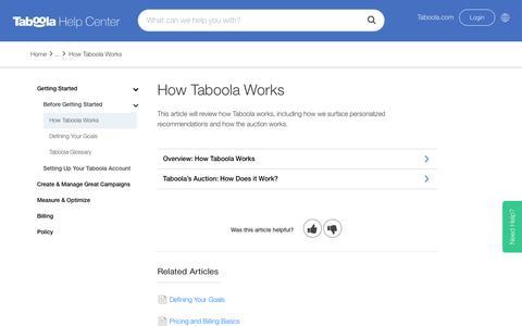 Screenshot of Support Page taboola.com - How Taboola Works – Taboola Advertiser Help Center - captured April 13, 2018