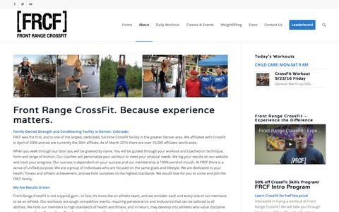 Screenshot of About Page frontrangecrossfit.com - About FRCF - captured Sept. 26, 2016