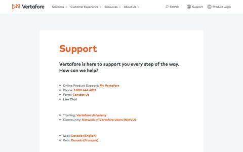 Screenshot of Support Page vertafore.com - Support | Vertafore - captured Nov. 5, 2017
