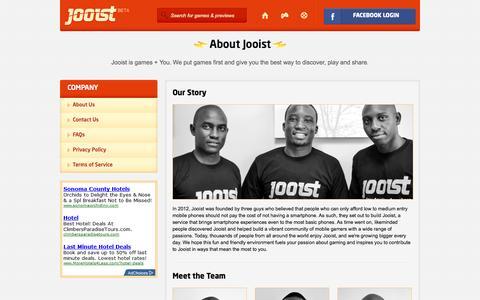 Screenshot of About Page jooist.com - Jooist - captured Sept. 30, 2014