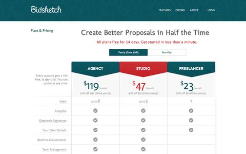 Screenshot of Pricing Page bidsketch.com - Business Proposal Management Pricing | Bidsketch - captured Nov. 18, 2015