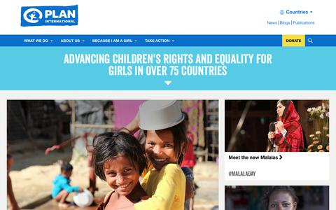 Screenshot of Home Page plan-international.org - Advancing children's rights and equality for girls | Plan International - captured July 18, 2018