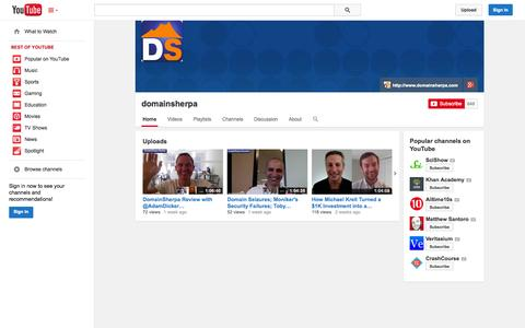 Screenshot of YouTube Page youtube.com - domainsherpa  - YouTube - captured Oct. 23, 2014