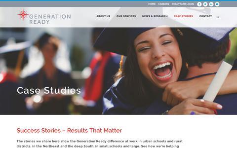 Screenshot of Case Studies Page generationready.com - Results that Matter - Case Studies - captured July 17, 2018