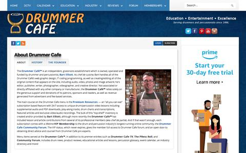 Screenshot of About Page drummercafe.com - The History of Drummer Cafe - Drummer Cafe - captured July 12, 2019