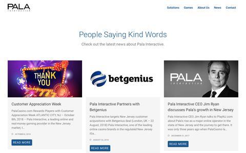 Screenshot of Press Page palainteractive.com - news – Pala Interactive - captured Nov. 4, 2018