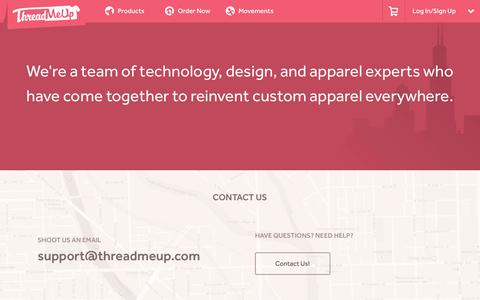 Screenshot of About Page Contact Page threadmeup.com - ThreadMeUp - The Custom Apparel Experience - captured Oct. 25, 2014