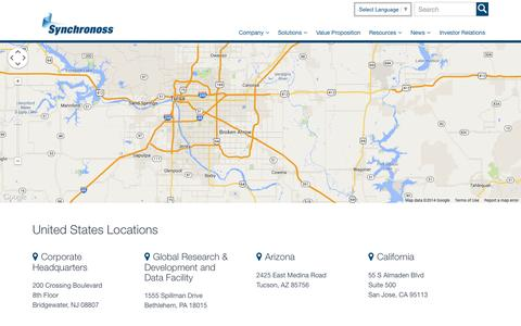Screenshot of Locations Page strumsoft.com - Offices Archive - Synchronoss - captured Oct. 8, 2014