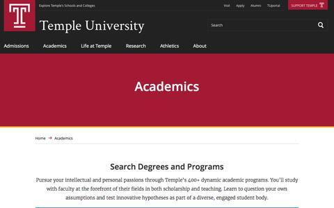 Academics | Temple University