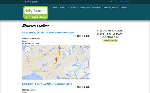 Screenshot of Locations Page myroomsfurnituregallery.com - Showroom Locations | My Rooms Furniture Gallery - captured Oct. 7, 2014