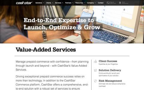 Screenshot of Services Page cashstar.com - Value-Added Services - CashStar - captured July 3, 2016