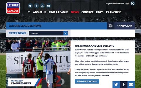 Screenshot of Press Page leisureleagues.net - News Stories | Leisure Leagues - captured May 17, 2017