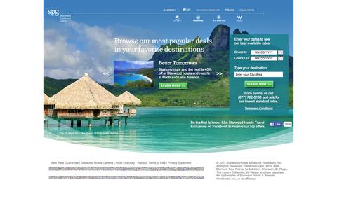 Screenshot of Home Page starwoodpromos.com - Hotel deals from Starwood Hotels & Resorts - captured Sept. 19, 2014