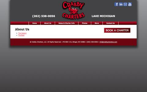 Screenshot of About Page crabbycharters.com - Crabby's Milwaukee Lake Michigan Fishing Charters - About Us - captured Oct. 3, 2014