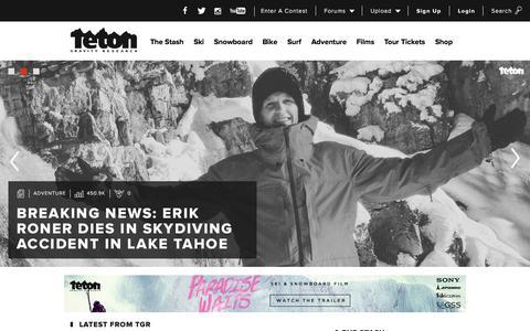 Screenshot of Home Page tetongravity.com - Action Sports - Ski, Snowboard, Bike, Surf, Movies | Teton Gravity Research - captured Oct. 1, 2015