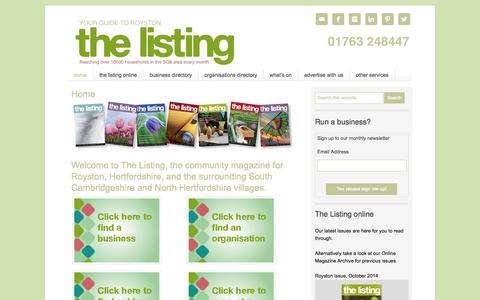 Screenshot of Home Page thelistingmagazine.co.uk - The Listing Magazine — Your Online Guide to Royston and Beyond - captured Oct. 8, 2014