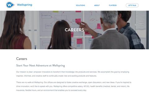 Screenshot of Jobs Page wellspring.com - Careers - Wellspring | Innovation Management Software - captured May 21, 2018