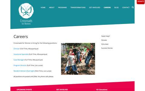 Screenshot of Jobs Page crossroadsabq.org - Careers - captured Sept. 15, 2017