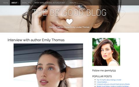 Screenshot of About Page thebegoodblog.com - Interview with author Emily Thomas | THE BE GOOD BLOG - captured Oct. 1, 2014