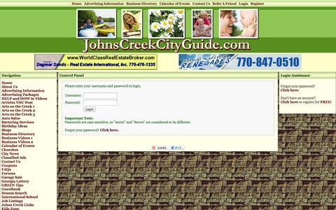 Screenshot of Login Page johnscreekcityguide.com - Control Panel - City of Johns Creek GA,Johns Creek City Guide,Johns Creek Georgia,Johns Creek Guide Book,Johns Creek Georgia Real Estate,Johns C - captured Sept. 30, 2014